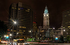Image USA Building Night time Street lights Rays of light Street Philadelphia Cities