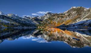 Bilder Vereinigte Staaten Berg See Himmel Kalifornien Spiegelung Spiegelbild Sierra Nevada, Lake Sabrina Natur