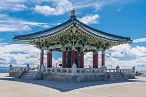 Wallpaper USA Temple Pagodas California Stairway Korean Friendship Bell in San Pedro Cities