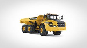 Bilder Volvo Technik Lastkraftwagen Grauer Hintergrund Gelb A40F, 6x6