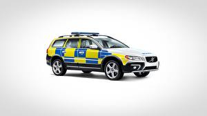 Pictures Volvo Gray background Side Police XC70, Police Car automobile