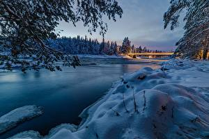 Wallpapers Winter Bridges River Forest Finland Snow Oulu, North Ostrobothnia Nature