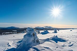 Pictures Winter Lapland region Finland Sky Snow Sun Kolari Nature