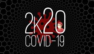 Photo Coronavirus Black background 2020 Word - Lettering English Covid 19