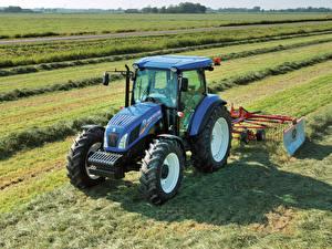 Hintergrundbilder Landwirtschaftlichen Maschinen Felder Traktor 2012-20 New Holland TD5.115 Cab