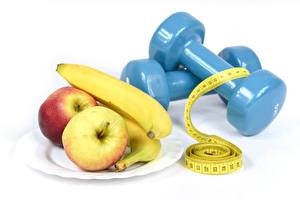 Pictures Apples Bananas Dumbbell Plate White background Tape measure Diet athletic Food