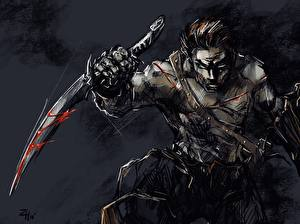 Wallpaper Assassin Man Painting Art Dagger Guy
