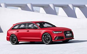 Wallpapers Audi Red Estate car Avant RS6 2015 Cars