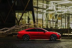 Hintergrundbilder Audi Seitlich Rot UK version, RS7 Sportback auto