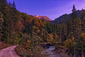 Hintergrundbilder Österreich Berg Wälder Herbst Wasserfall Gmunden Natur