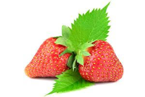 Photo Berry Strawberry White background Foliage Red Food