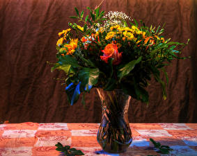 Pictures Bouquet Roses Chrysanthemums Vase Flowers