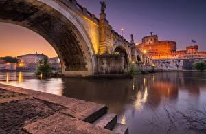Images Bridge River Evening Rome Italy Castel Sant'Angelo bridge Cities