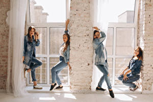 Image Brown haired Dancing Smile Jeans Four 4 Girls