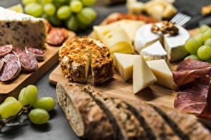 Bilder Käse Brot Weintraube Wurst Geschnitten