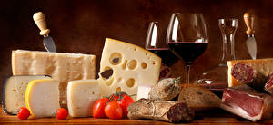 Images Cheese Tomatoes Wine Ham Sausage Bread Stemware Food