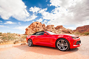 Wallpapers Chevrolet Red Side Cabriolet Camaro Cars