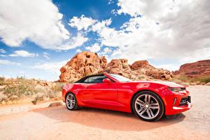 Bilder Chevrolet Rot Seitlich Cabriolet Camaro Autos