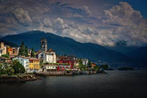 Hintergrundbilder Küste Gebäude Schweiz See Alpen Lake Maggiore, Brissago
