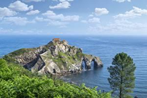 Bakgrunnsbilder Kystlinje Sjøen Ei øy Spania Klippe San Juan de Gaztelugatxe Natur