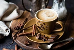 Bilder Kaffee Schokolade Zimt Tasse Untertasse Löffel