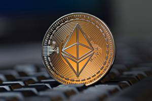 Wallpaper Coins Closeup Blurred background ethereum
