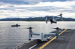 Hintergrundbilder Wandelflugzeug Starten US NAVY, Norway, MV-22B Osprey, US Marine Corps, HNoMS Storm (P961), USS Iwo Jima (LHD 7) Luftfahrt