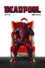 Wallpaper Deadpool hero Superheroes Lettering English Winter hat Wing chair film Fantasy