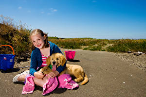 Picture Dogs Golden Retriever Little girls Smile Sitting Staring Puppy child