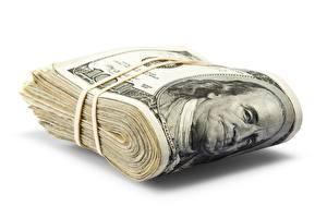 Bilder Dollars Geld Geldscheine Weißer hintergrund 100