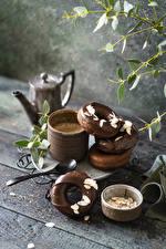 Bilder Donut Schokolade Kaffee Bretter Becher