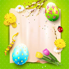 Image Easter Bellis Tulip Ladybugs Colored background Template greeting card Design Egg