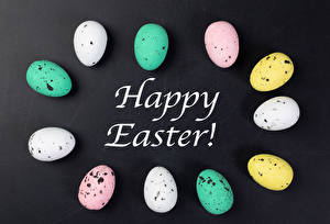Images Easter Gray background Eggs Multicolor Word - Lettering English Food