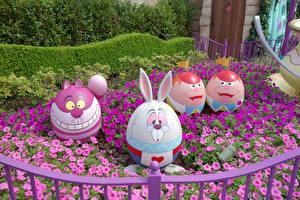 Bilder Ostern Japan Präfektur Tokio Parks Petunien Kreative Design Eier Disney Resort