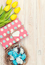Picture Easter Tulips Wood planks Yellow Egg Nest Gifts Flowers Food
