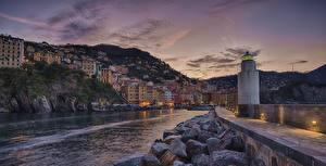 Fotos Abend Gebäude Stein Bootssteg Italien Ligurien Leuchtturm Bucht Camogli