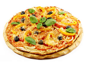 Picture Fast food Pizza Cheese White background Basil