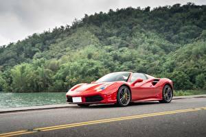 Fotos Ferrari Rot Roadster 488 Spider automobil