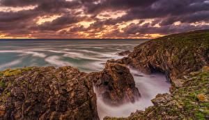 Bilder Frankreich Meer Küste Morgendämmerung und Sonnenuntergang Felsen Brittany
