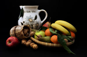 Image Fruit Bananas Apples Nuts Pears Mandarine Still-life Black background Jugs Food
