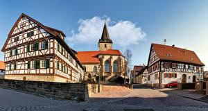 Hintergrundbilder Deutschland Gebäude Kirche Tempel Stadtstraße Straßenlaterne Baden-Wuerttemberg Städte