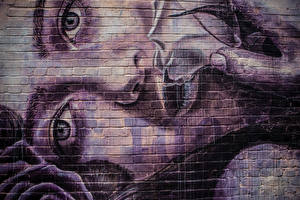 Picture Graffiti Eyes Wall Face Staring Girls