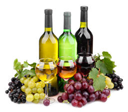 Pictures Grapes Wine White background Foliage Stemware Bottle Food