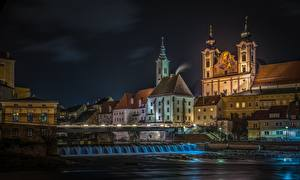 Picture Building Austria River Night Steyr