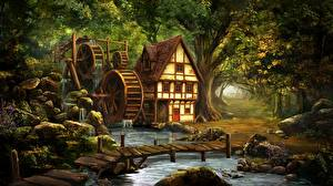 Hintergrundbilder Haus Brücken Wassermühle Bach Natur