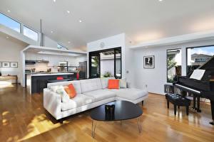 Wallpaper Interior A grand piano Design Lounge sitting room Couch