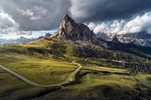 Fotos Italien Berg Straße Wolke Passo Giau, Dolomites, Belluno Natur