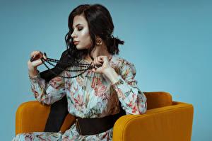 Desktop wallpapers Jewelry Necklace Brunette girl Armchair Sitting Dress Kirill Sokolov, Elena Girls