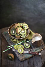 Pictures Chinese gooseberry Milk Knife Wood planks Sliced food