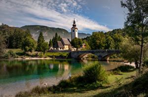 Bilder See Brücke Slowenien Kirche Gebäude Triglav national Park, lake Bohinj Natur